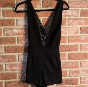 H&M DIVIDED black suspender shorts
